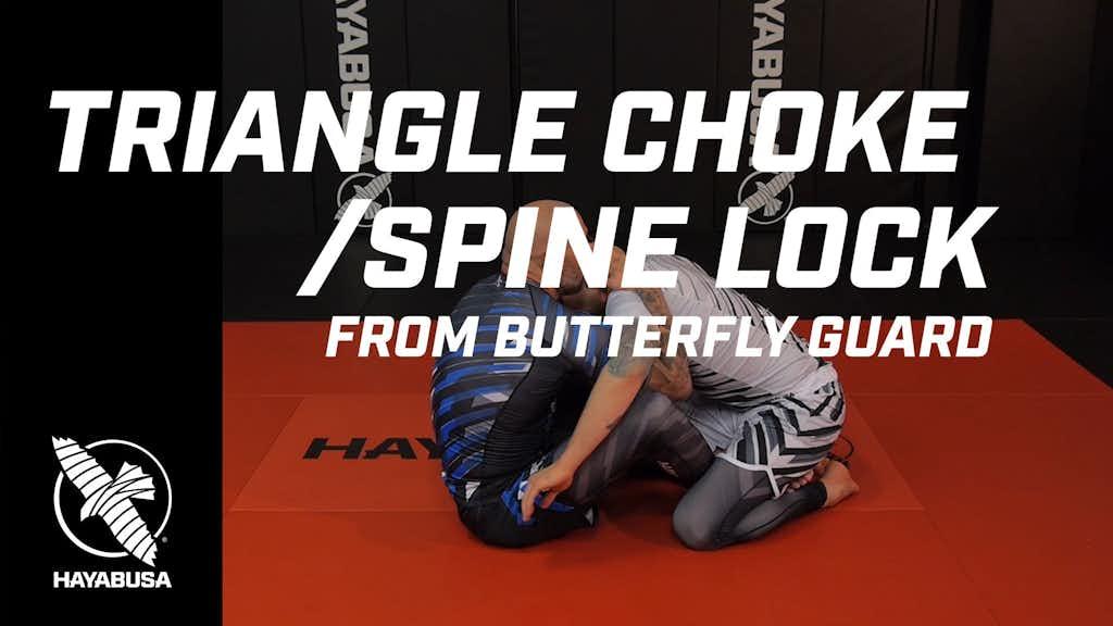 Ground Fight Series - Triangle Choke / Spine Lock from Butterfly Guard - No-Gi, Jiu Jitsu, Grappling